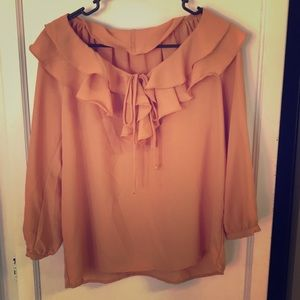 Tops - Forever 21 Women Copper Red Ruffle Blouse M